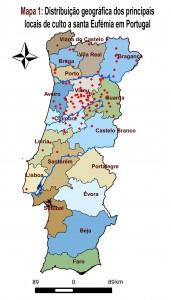 Distribuição do Culto de Santa Eufémia - Mapa de Portugal